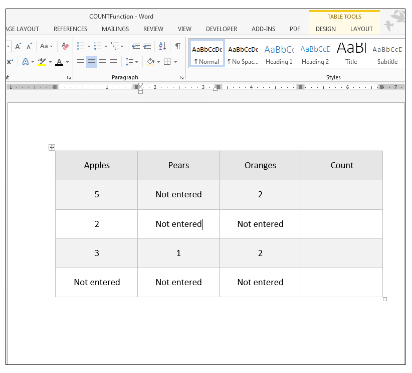 Count Function in MS Word