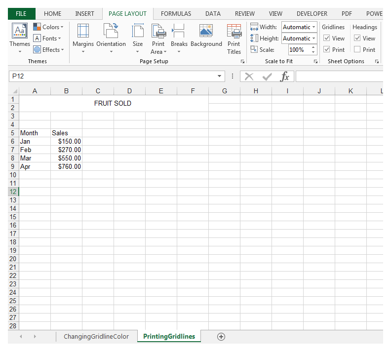 How To Print Excel Spreadsheet With Grid Lines