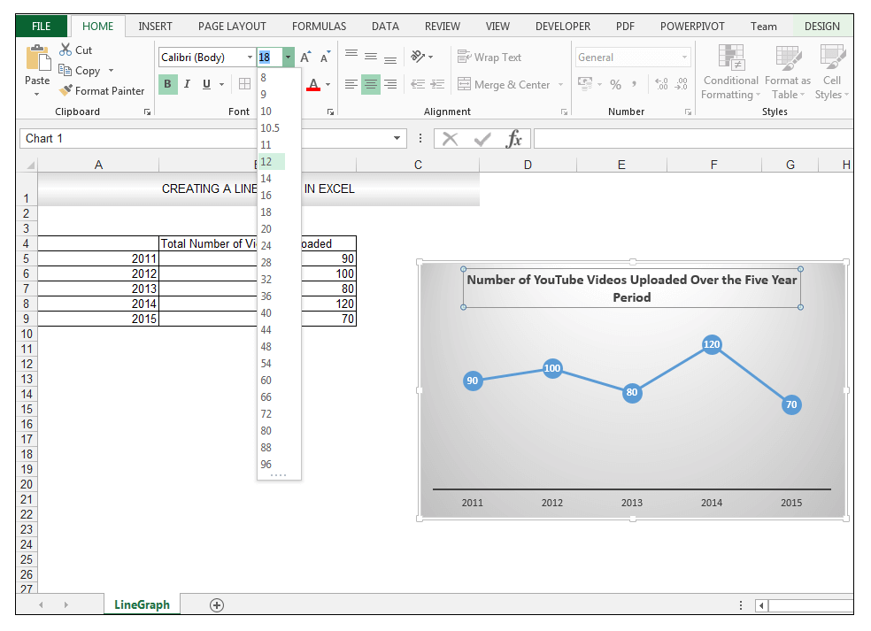 Make a line graph in Excel Image 5