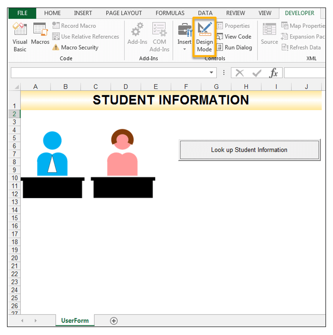 Lookup Student Information - Using Excel INDEX and MATCH Worksheet Functions in Excel VBA Code
