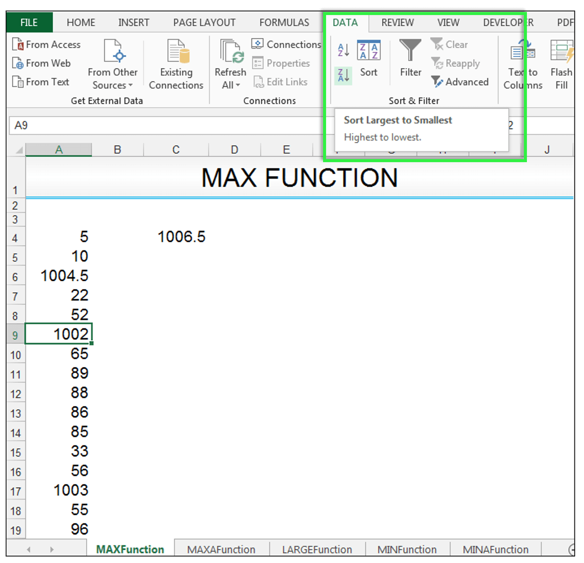 MAX Function Use