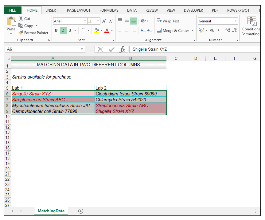 how to compare two columns and delete matches in excel