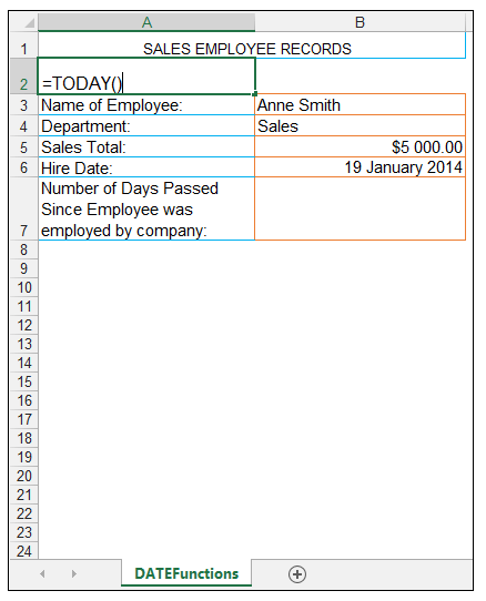 TODAY Excel Function Image 1