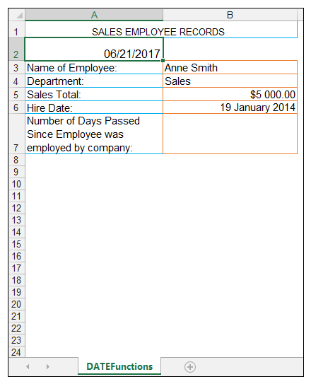 TODAY Excel Function Image 2