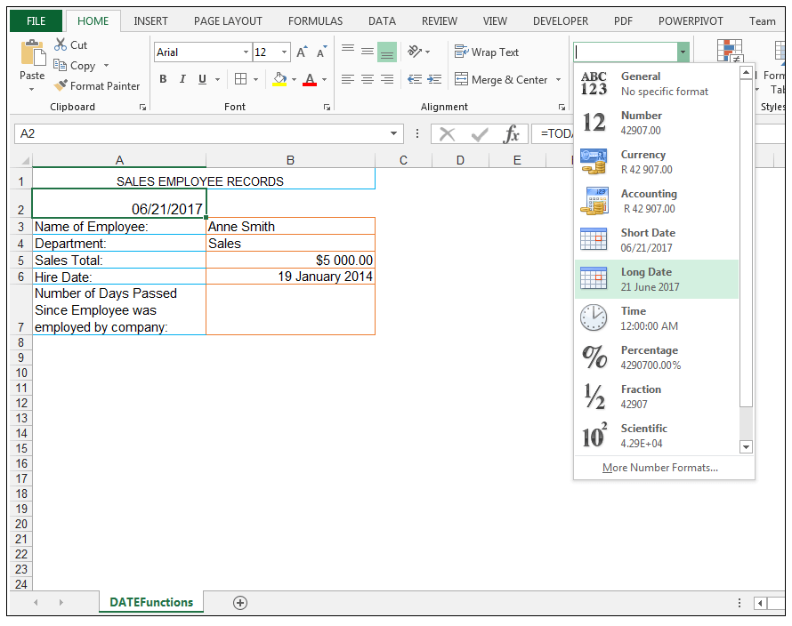 how to show todays date in excel