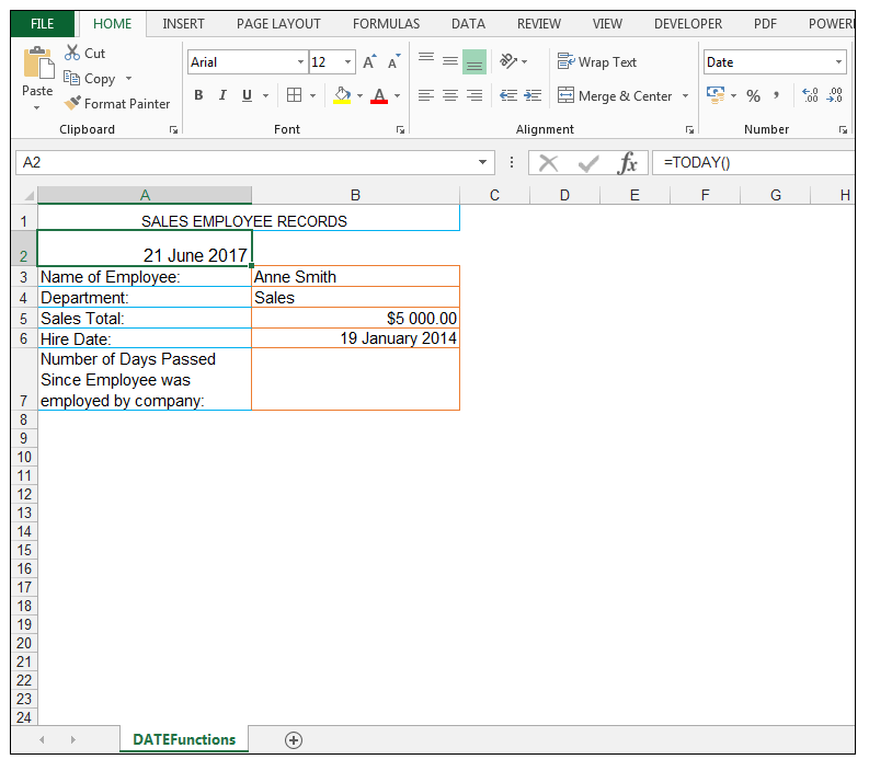 TODAY Excel Function Image 4