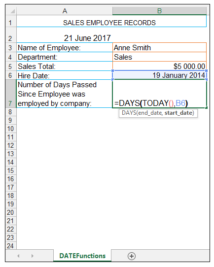 TODAY Excel Function Image 5