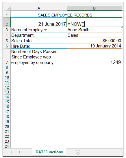 Excel NOW Function - Image 1
