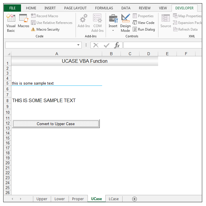 Changing Case Using Worksheet Functions And Excel Vba Exceldemy. 6 Return To The Worksheet And Making Sure Design Mode Is Not Selected Click On Button Text In Upper Case Shown Cell A8. Worksheet. Vba Deselect Sheet At Clickcart.co