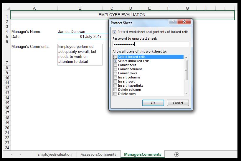 Protect Sheet Dialog Box, Select Unlocked Cells