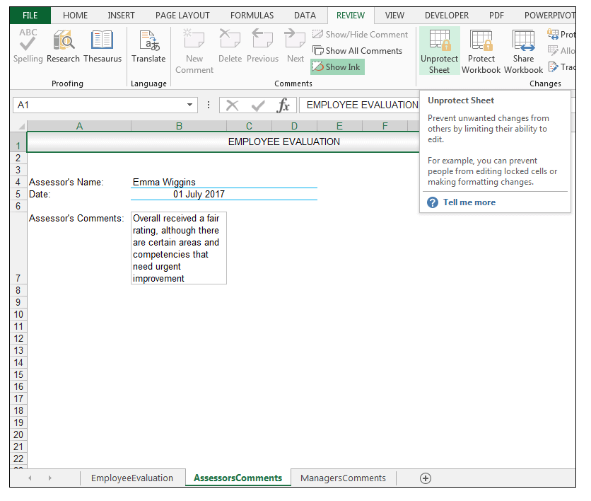 Excel Review Tab, Unprotect Sheet Command