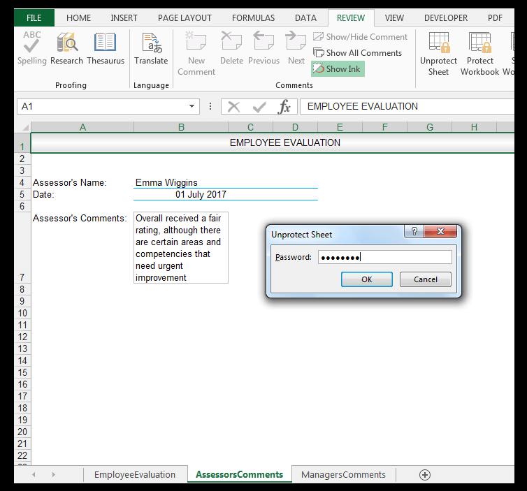 Employee Evaluation Data, Unprotect Sheet Dialog Box