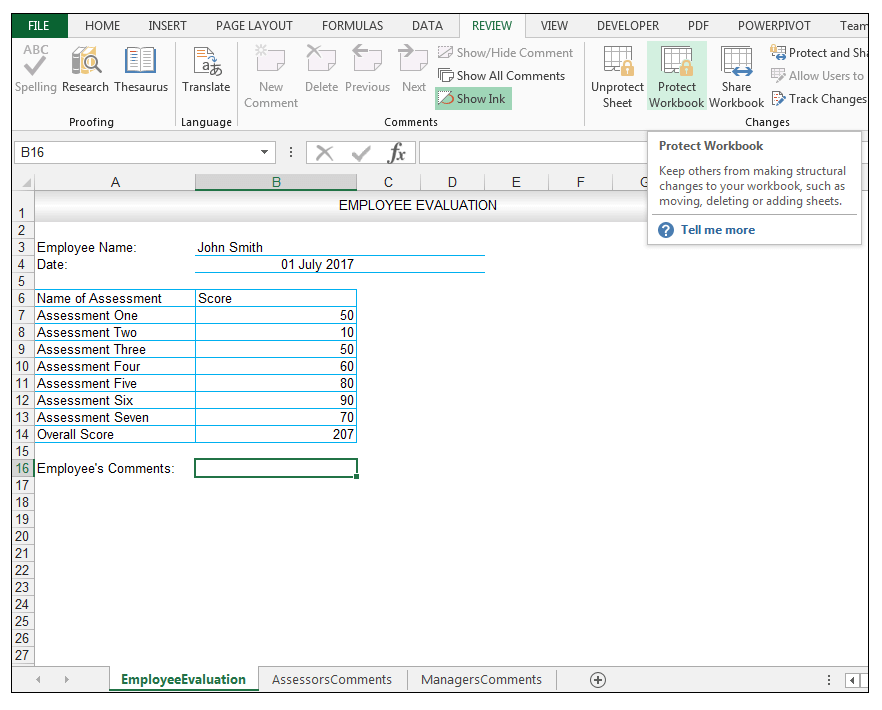 Excel Review Tab, Protect Workbook Command