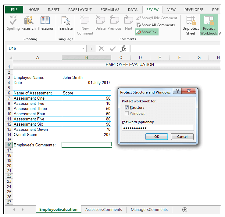 Excel Review Tab, Protect Workbook, Protect Structure and Windows Dialog Box