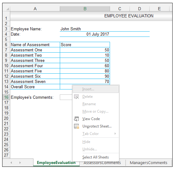 Employee Evaluation Sample Data