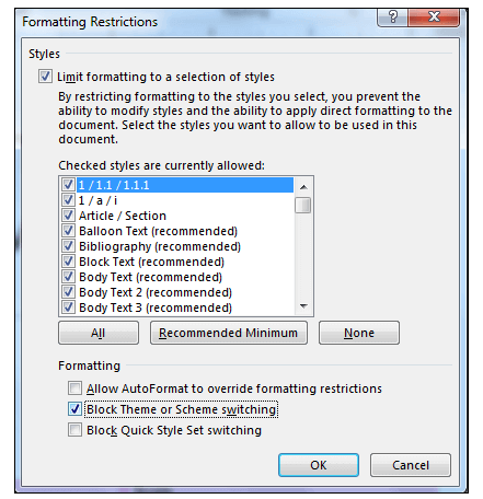 Formatting Restrictions dialog box in MS word