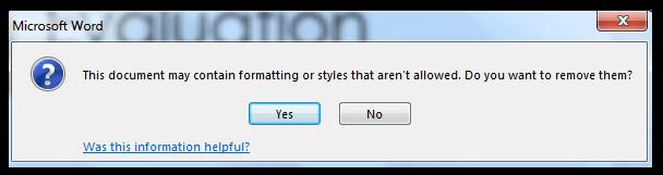 Microsoft Word general dialog box