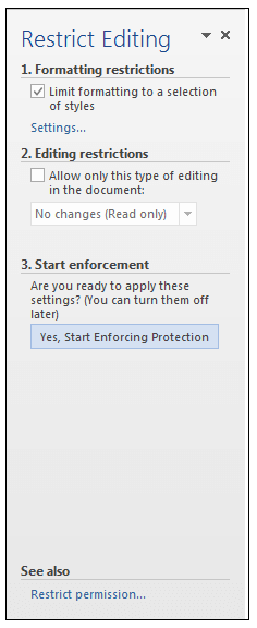 Restrict Editing Dialog Box MS Word
