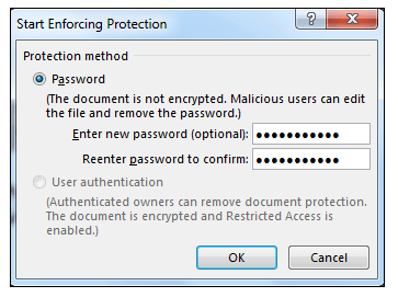 Start Enforcing Protection Dialog Box