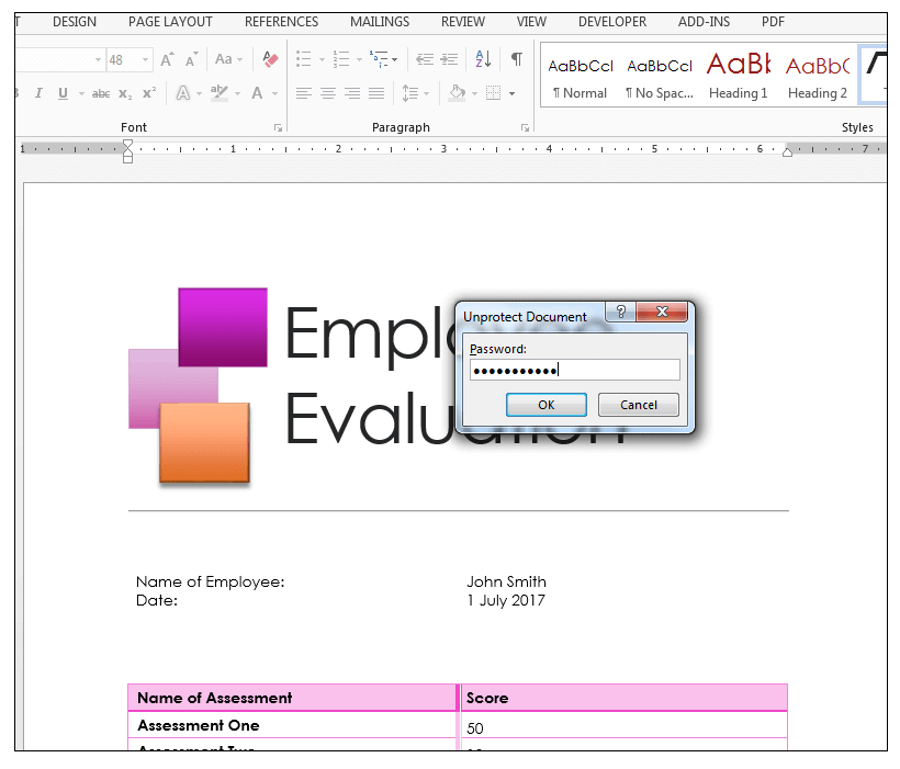 Unprotect Document dialog box in MS Word