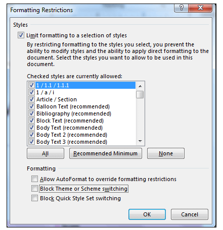Formatting Restrictions in MS Word