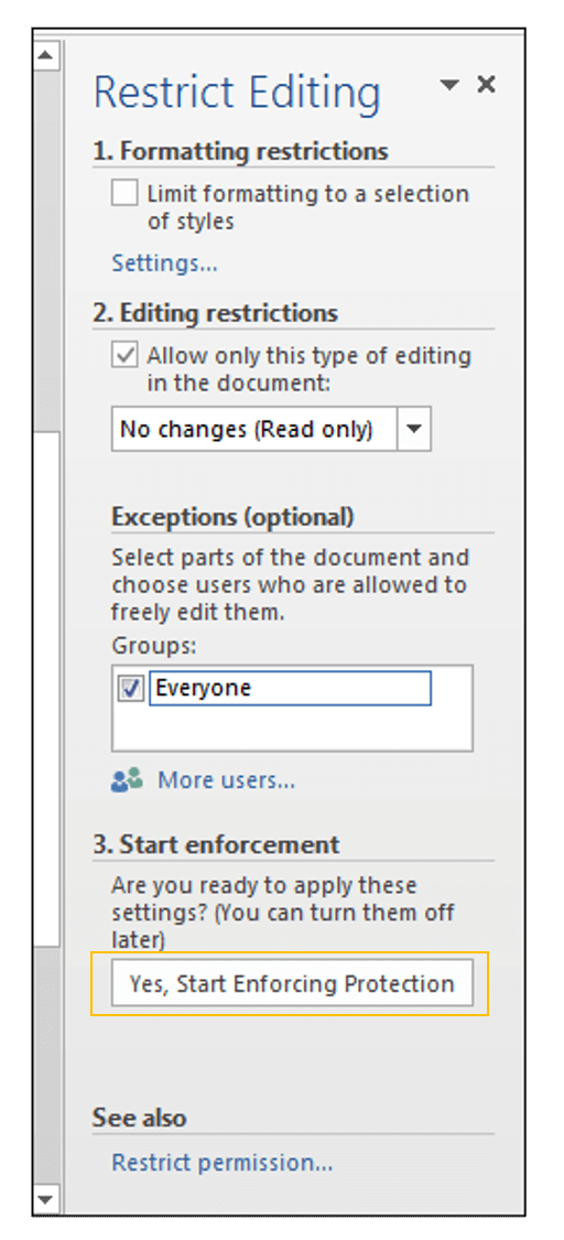 Restrict Editing in MS Word