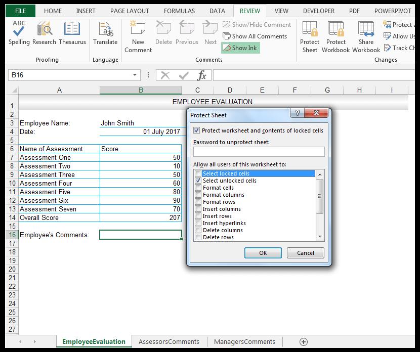 Protect Sheet Dialog Box