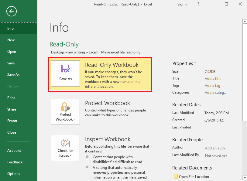 how to change excel file from read only