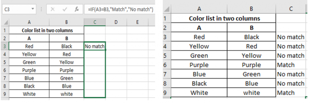 IF function to determine Matches and Differences in separate Column