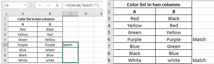 Compare two columns in excel and highlight matches using Match