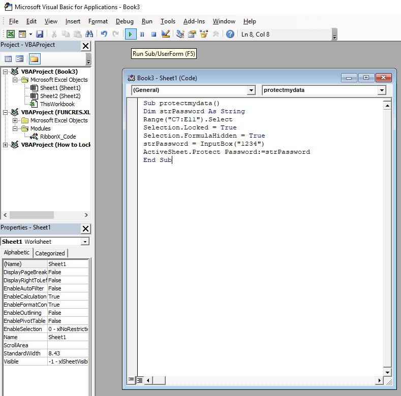 VBA code Lock