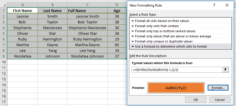 Row highliting in a group using ROW, CEILING and ISEVEN/ISODD Functions