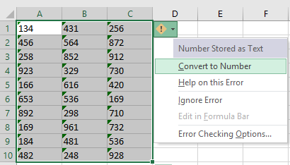 Error Check to Convert Text-formatted Numbers into Actual Numbers