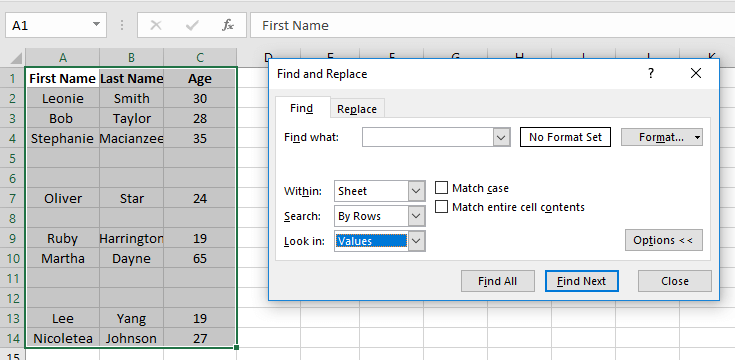 Remove Blank Rows by Using Excel Find Functionality