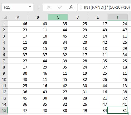 generate random integers in excel