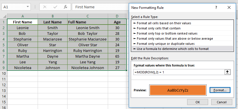 Using the MOD and ROW Function to Highlight Rows