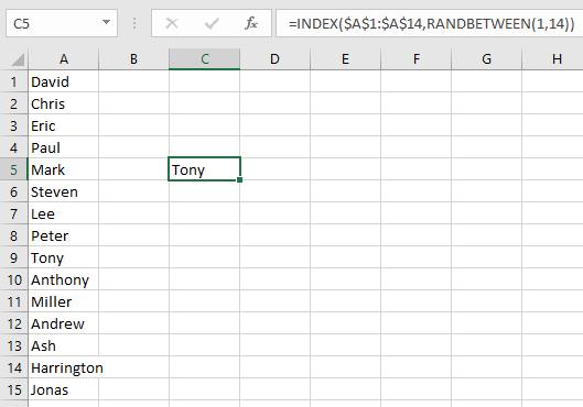 generate random names in excel
