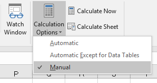 Excel manual calculation