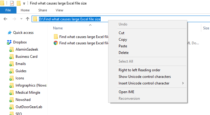 Find what causes large Excel file size