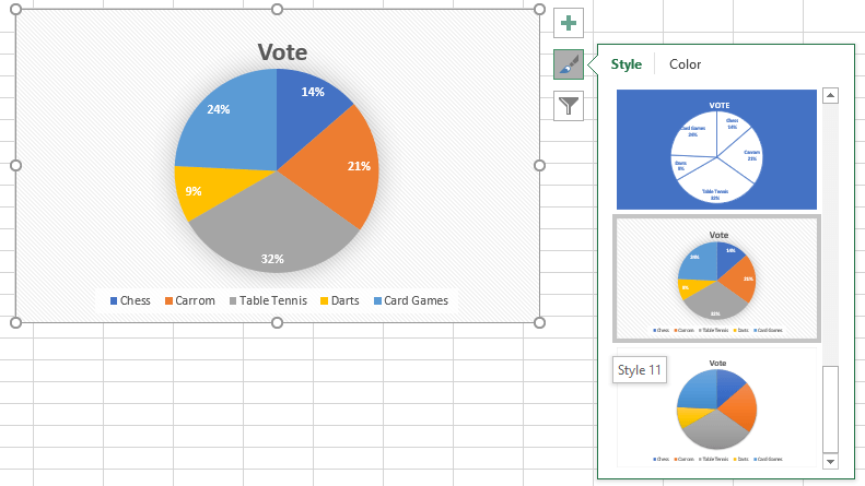 how to make a pie chart show percentages in excel