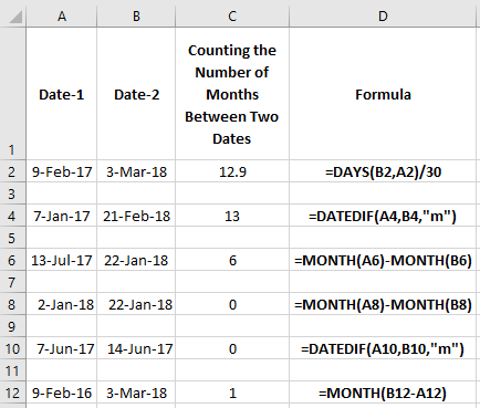 Number of Months Between Two Dates in Excel