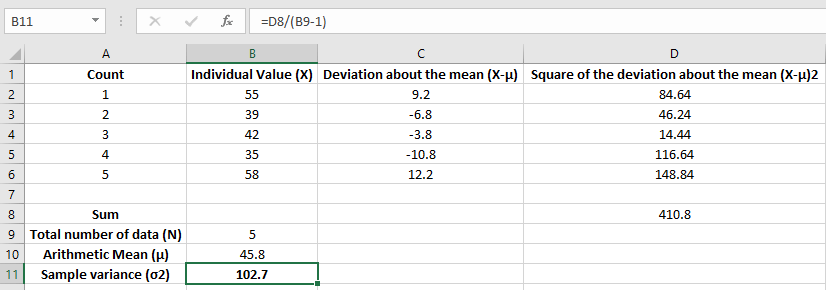 how to calculate sample variance