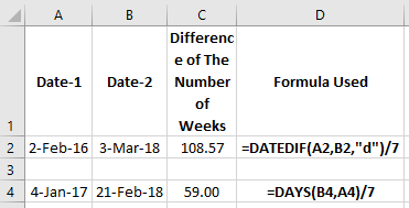 excel number of weeks between two dates