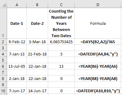 Number of Years Between Two Dates