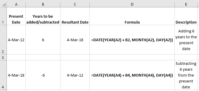 Add/Subtract Years to a Date in Excel