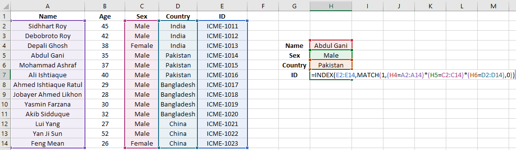 Excel Index Match Multiple Criteria with Single Results