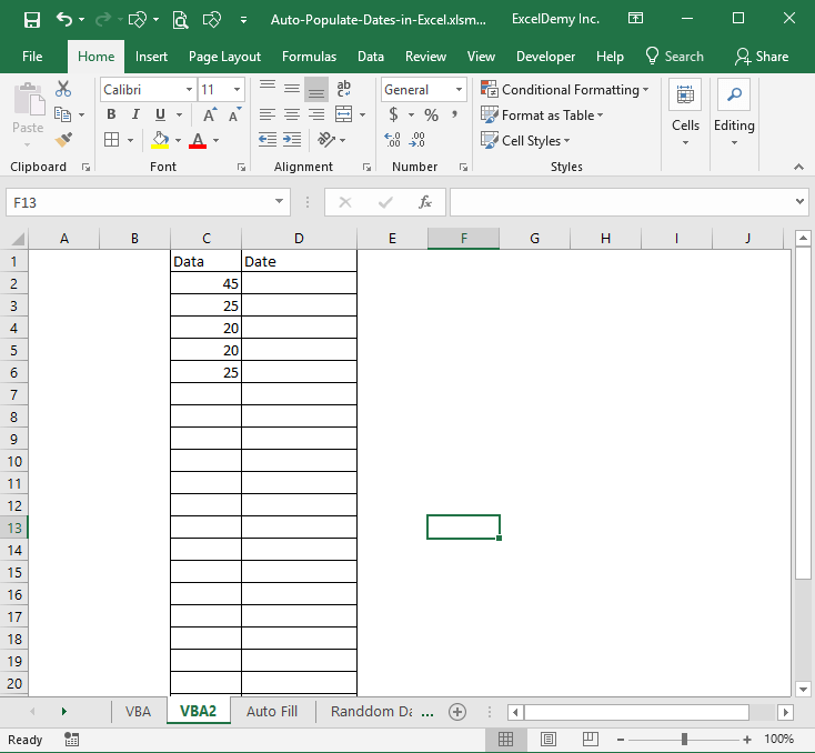 How to auto populate date in Excel when cell is updated