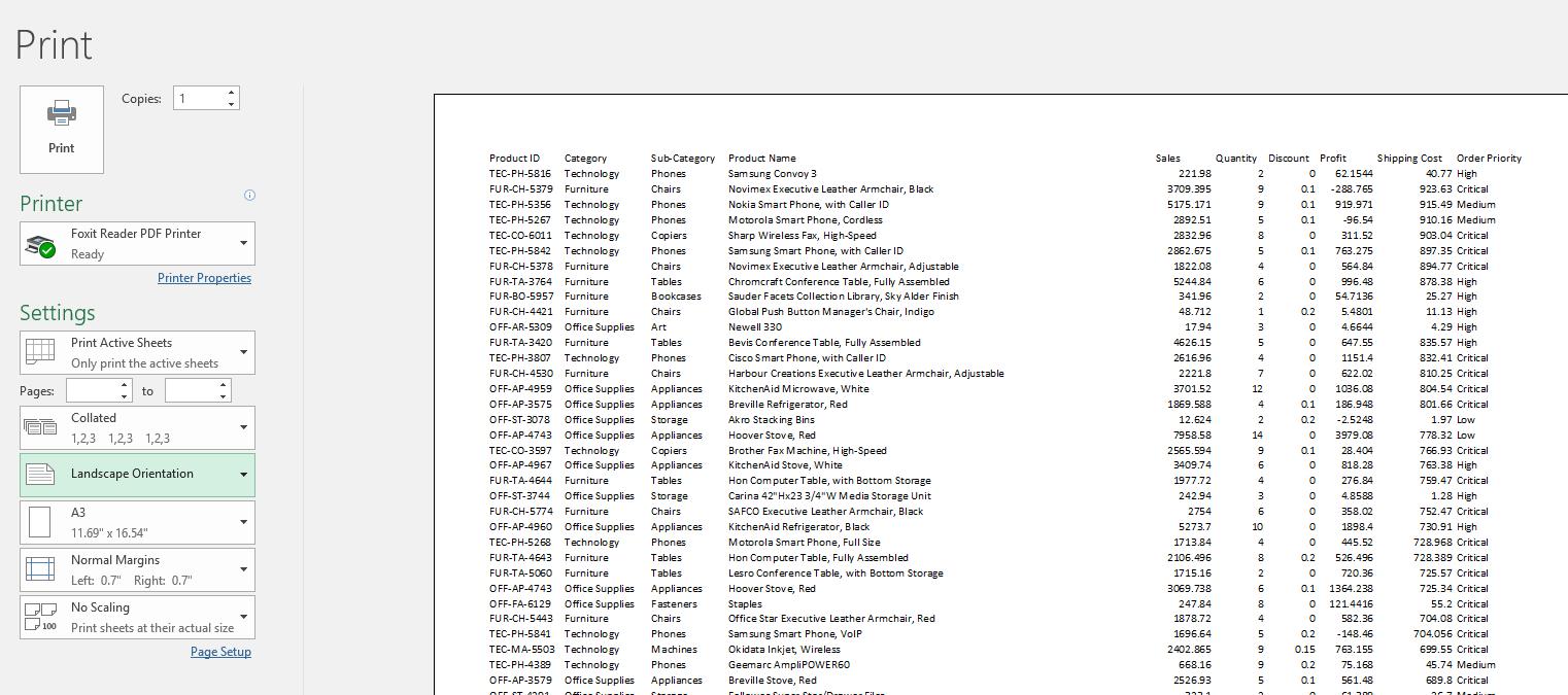 Page Orientation, Landscape Page orientation