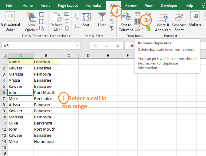 Using Excel to remove duplicate rows based on two columns [4 ways]