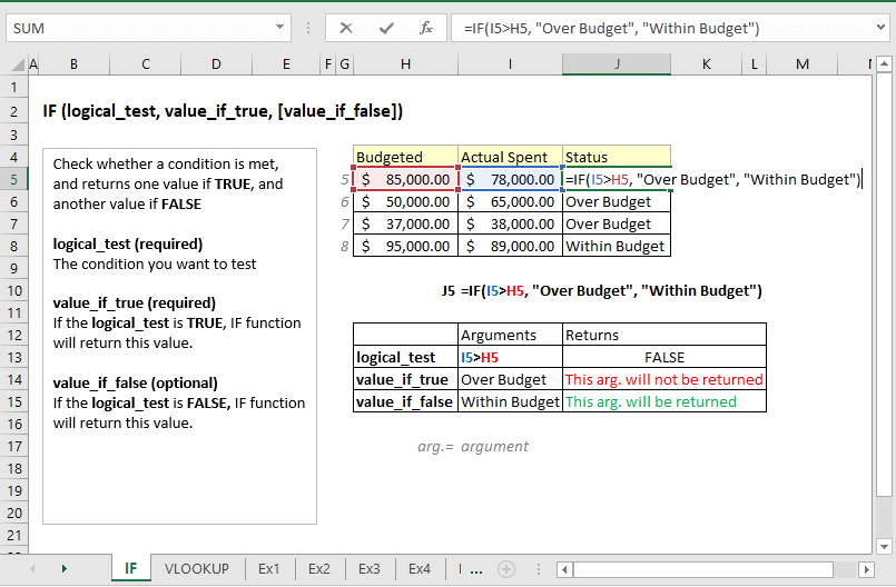 how to create a formula in excel using if function